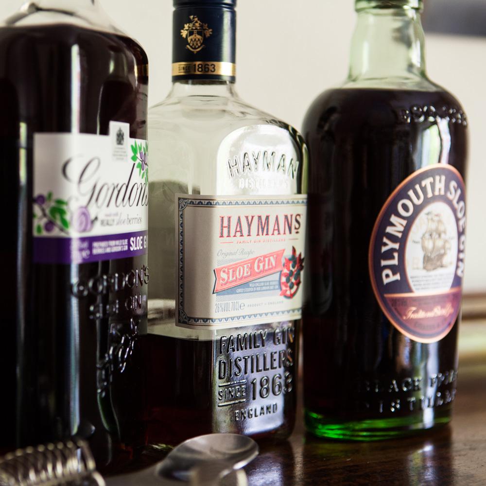 Dreimal Sloe Gin: Gordon's, Hayman's, Plymouth